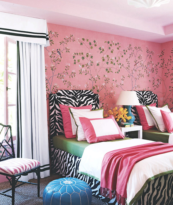 Kids Pink Bedroom Designed by Grant K. Gibson at grantkgibson.com