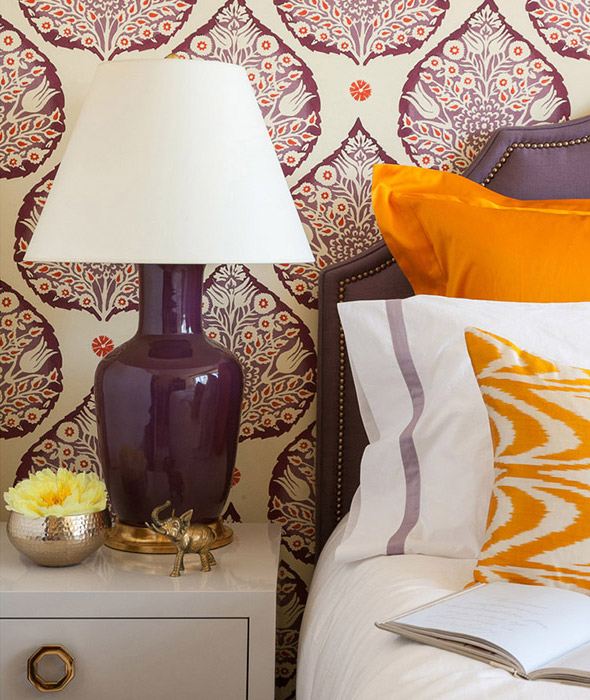 Purple + Orange Bedroom Designed by Grant K. Gibson at grantkgibson.com