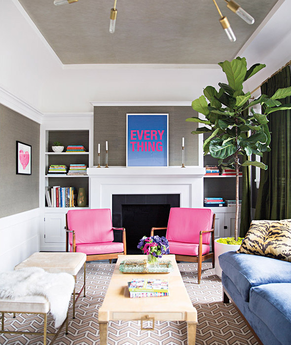 Grey + Pink Living Room Designed by Grant K. Gibson at grantkgibson.com